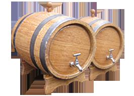 Деревяні дубові бочки і жбани для вина